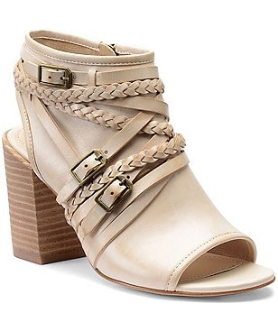 Isola Leonora Leather Braided Strap & Buckle Peep-Toe Block Heel Sandal