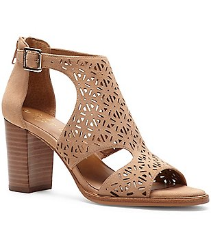 Arturo Chang Edythe Perforated Suede Peep Toe Block Heel Booties