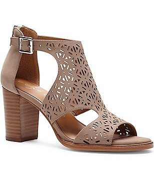 Arturo Chiang Edythe Perforated Nubuck Peep Toe Block Heel Booties