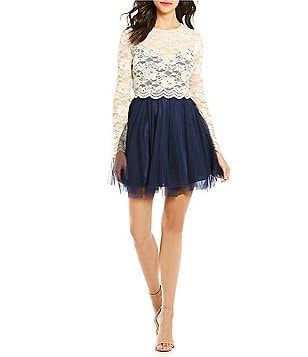 Teeze Me Floral Lace-Bodice Fit-and-Flare Dress