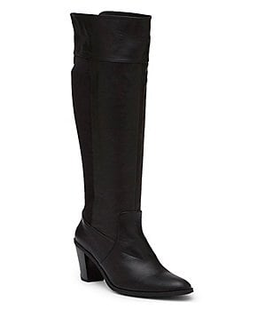 Kenneth Cole Reaction Very Clear Leather & Neoprene Tall Block Heel Boots