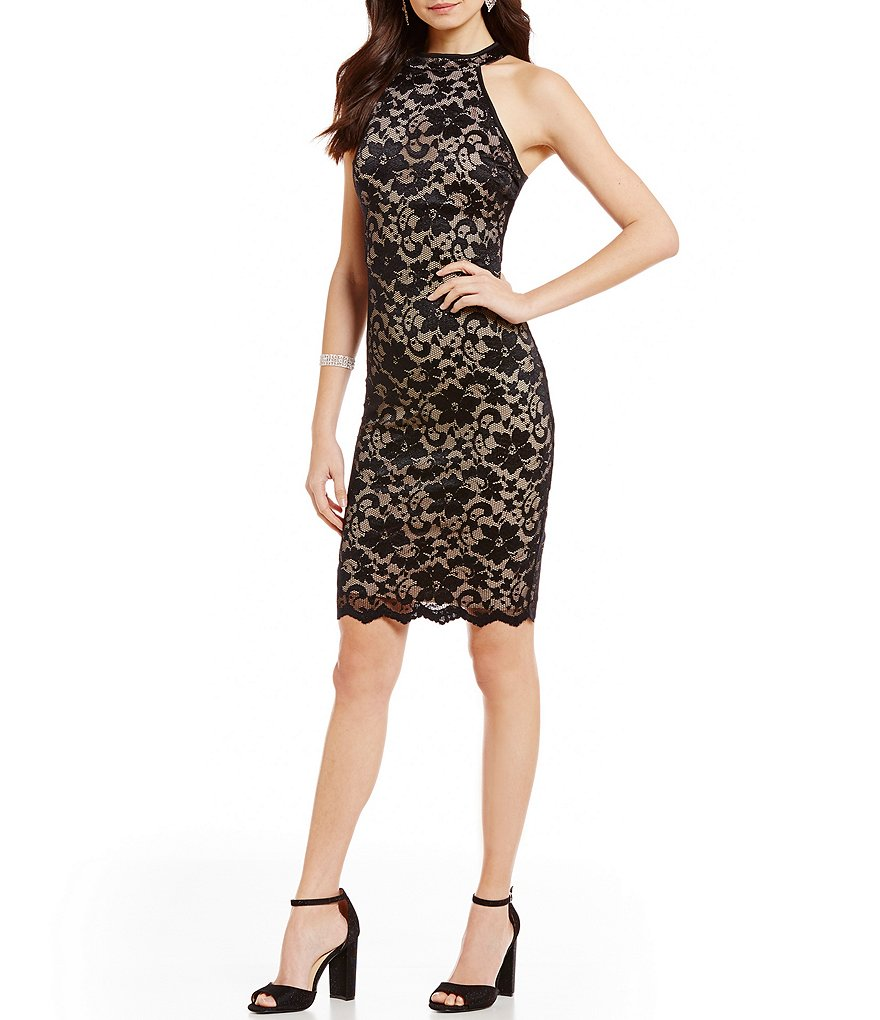 Honey and Rosie Two-Tone Lace Mock Neck Sleeveless Sheath Dress