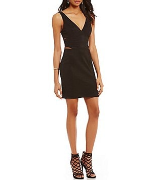 Midnight Doll Deep-V Illusion Inset Waist Bodycon Dress