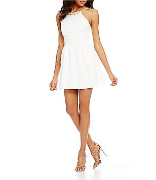Midnight Doll Beaded High Neck Sleeveless Fit-and-Flare Party Dress