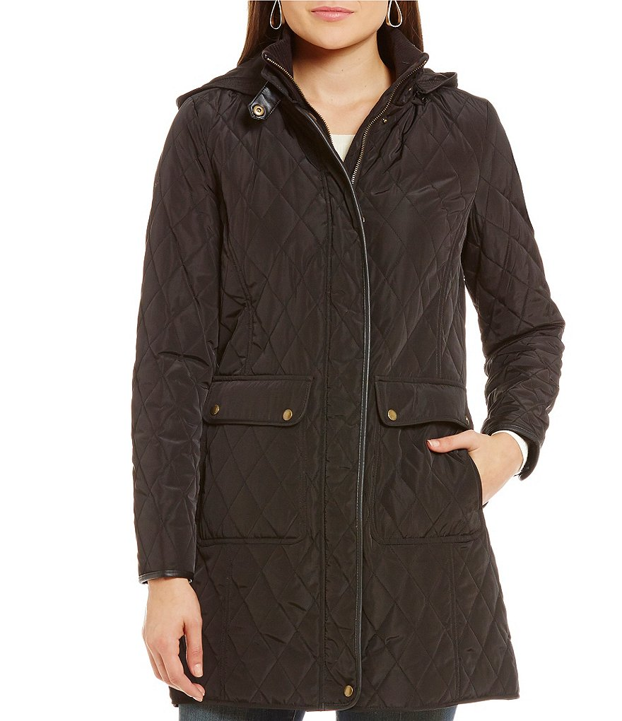 Lauren Ralph Lauren Quilted Faux-Leather Trim Coat