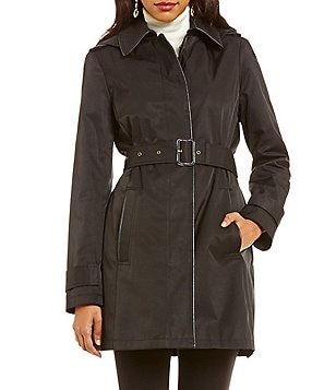 Lauren Ralph Lauren Faux Leather Piped Hooded Rain Trench Coat