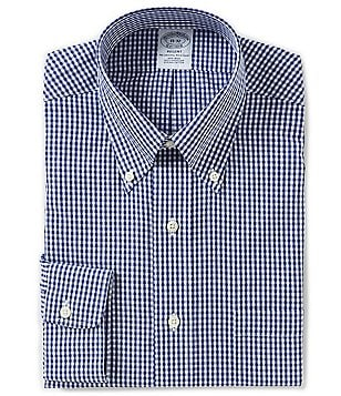 Brooks Brothers Non-Iron Regent Fitted Classic-Fit Button-Down Collar Gingham Dress Shirt