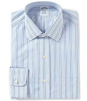 Brooks Brothers Non-Iron Regent Fitted Classic-Fit Spread Collar Multi-Striped Dress Shirt