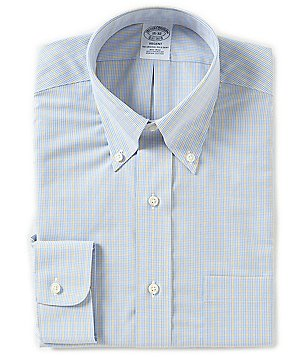 Brooks Brothers Non-Iron Regent Fitted Classic-Fit Button-Down Collar Checked Dress Shirt