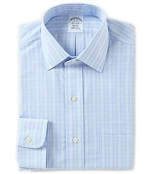Brooks Brothers Non-Iron Regent Fitted Classic-Fit Spread Collar Plaid Dress Shirt