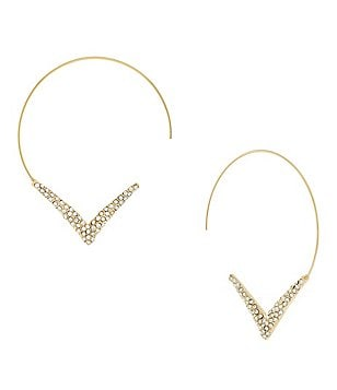 Jessica Simpson Loop It Through Pavé Chevron Threader Hoop Earrings