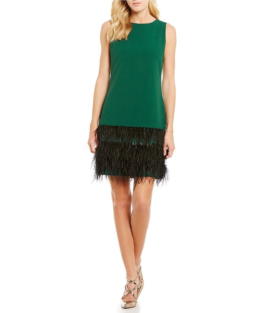 Cremieux Krista Ostrich Feather Sleeveless Dress