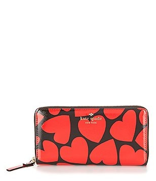 kate spade new york Be Mine Collection Lacey Heart-Print Zip-Around Wallet