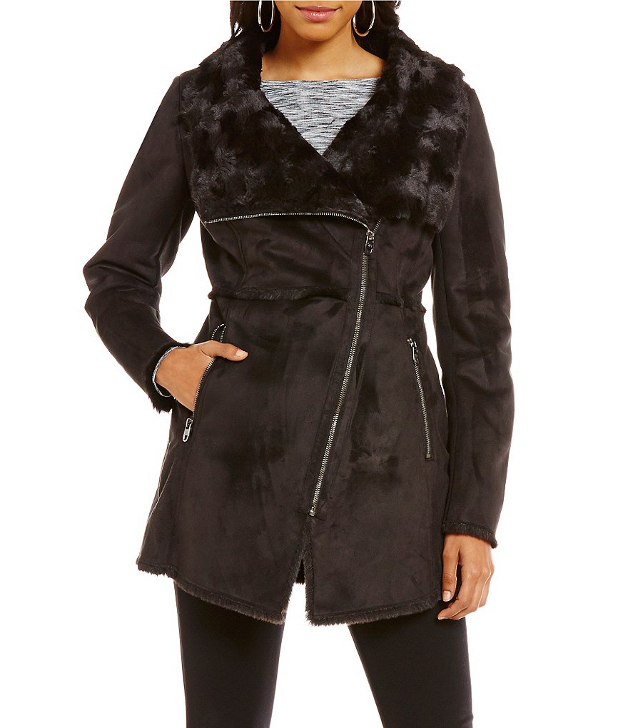 Jessica Simpson Asymmetrical Faux Fur Coat