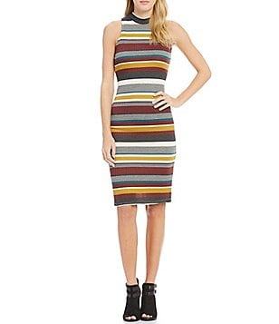 GB Striped Knit Mock Neck Sheath Dress