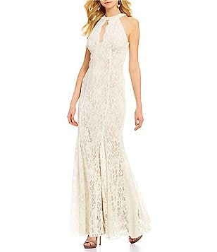 R&M Richards Mermaid Halter Keyhole Neck Two-Tone Lace Scalloped Hem Gown