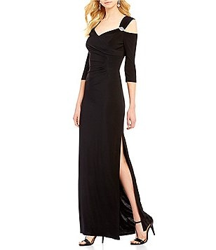 R&M Richards Cold-Shoulder Bead-Trim Sweetheart Gown