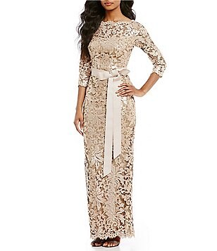 Tadashi Shoji Petite Embroidered Sequined Lace Gown