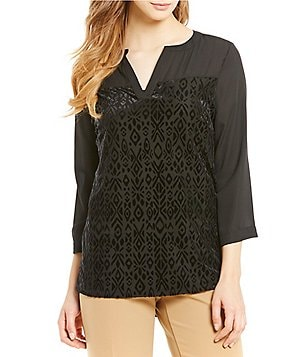 Investments Y-Neck 3/4 Sleeve Burnout Front Blouse