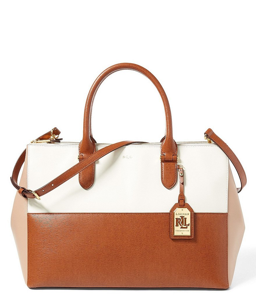 Lauren Ralph Lauren Newbury Collection Color Block Double-Zip Satchel