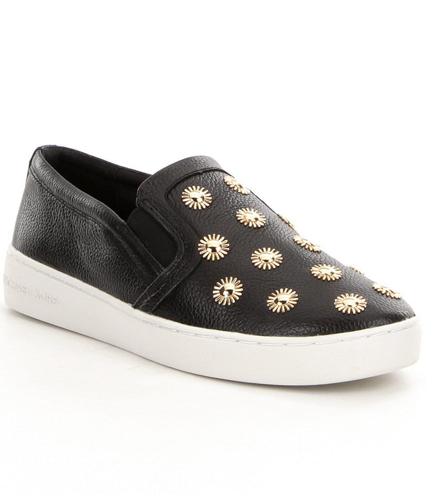 MICHAEL Michael Kors Leo Leather Starburst Studded Slip On Sneakers