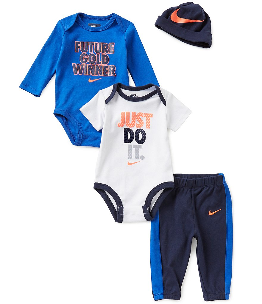 Nike Baby Boys Newborn-6 Months Long-Sleeve Bodysuit, Short-Sleeve Bodysuit, Pants, and Hat Set