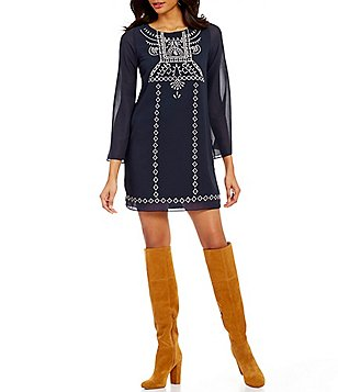 Midnight Doll Embroidered 3/4-Sleeve Shift Dress