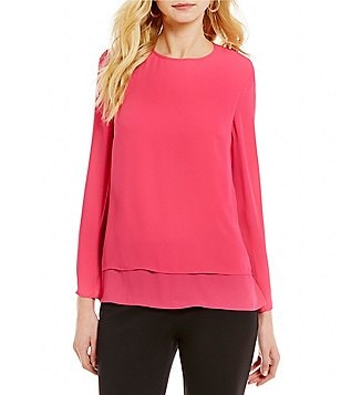 Preston & York Cora Round Neck Long Sleeve Solid Georgette Blouse