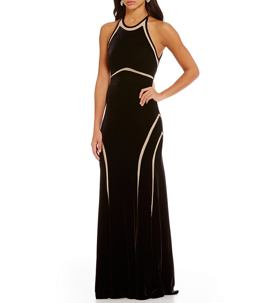 XSCAPE Illusion Velvet Halter Sleeveless Gown