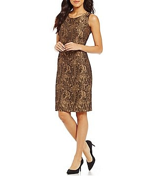 Kasper Metallic Jacquard Printed Sleeveless Sheath Dress