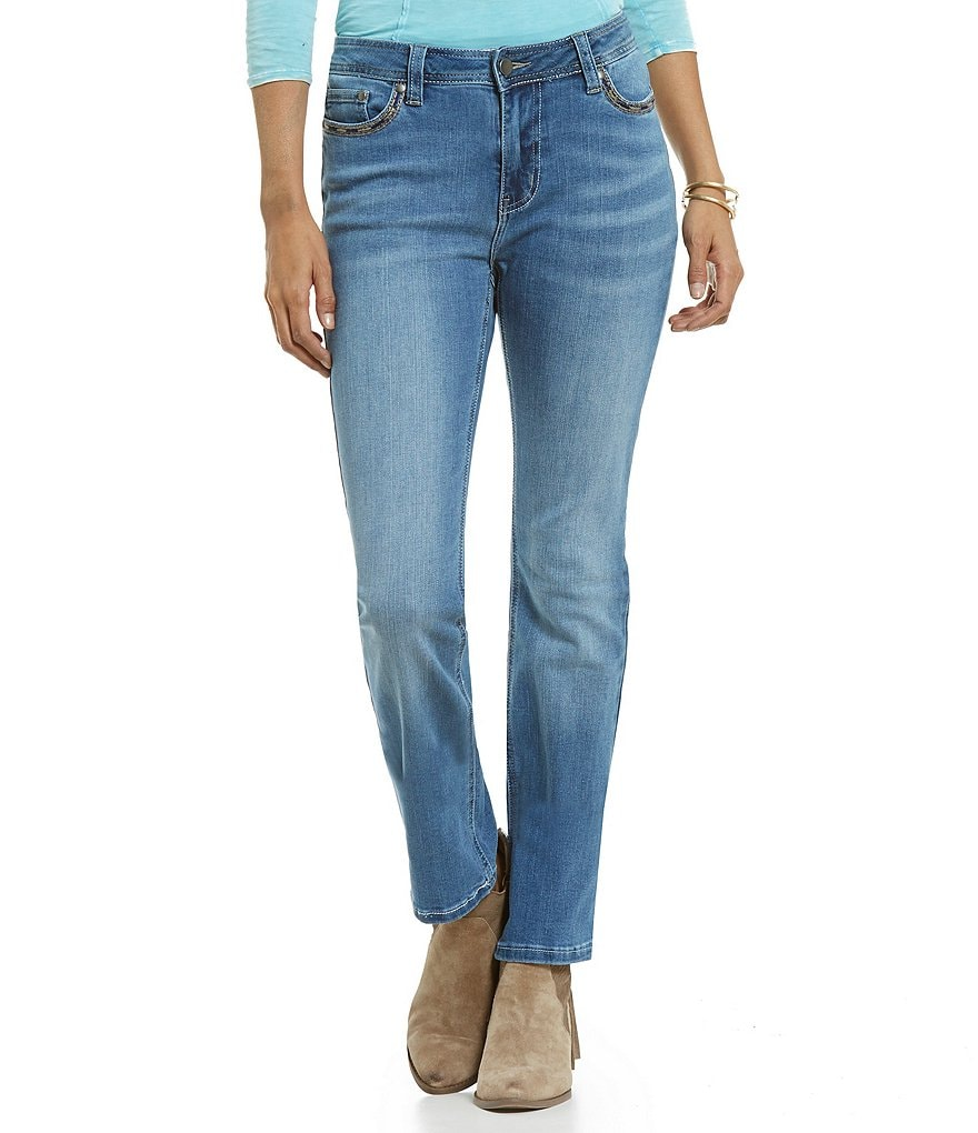 Reba Embroidered Straight Leg 5-Pocket Denim Jean