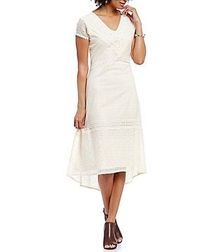Reba V-Neck Cap Sleeve Crochet Lace A-Line Midi Dress