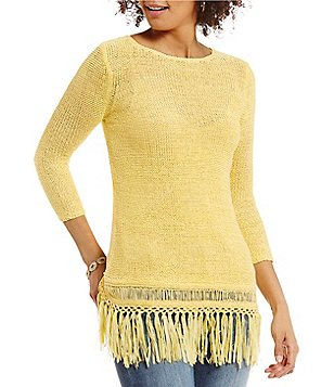 Reba Round Neck 3/4 Sleeve Solid Fringe Sweater
