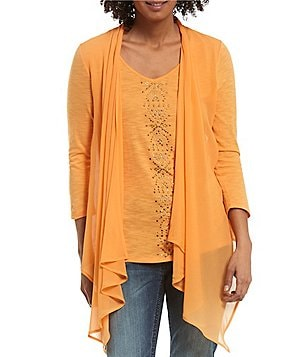 Reba Embellished Knit & Chiffon V-Neck 3/4 Sleeve Embellished Two-fer Top
