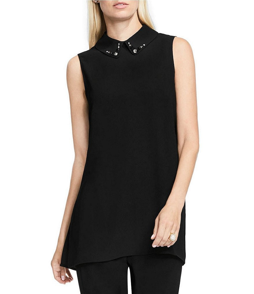Vince Camuto Embellished Point Collar Blouse