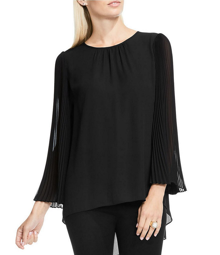 Vince Camuto Chiffon Pleated Bell Sleeve Blouse