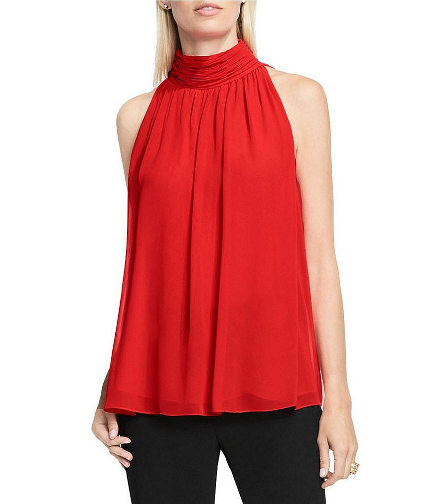 Vince Camuto Chiffon Shirred Monk Neck Halter Blouse