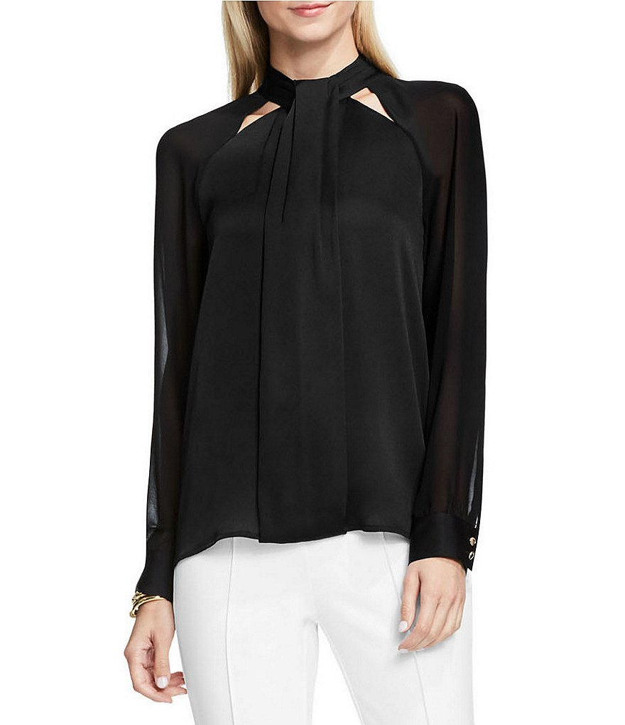 Vince Camuto Chiffon Sleeve Cutout Mock Neck Blouse
