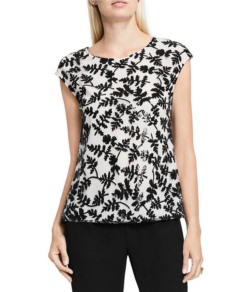 Vince Camuto Embroidered Sequin Lace Shell Top