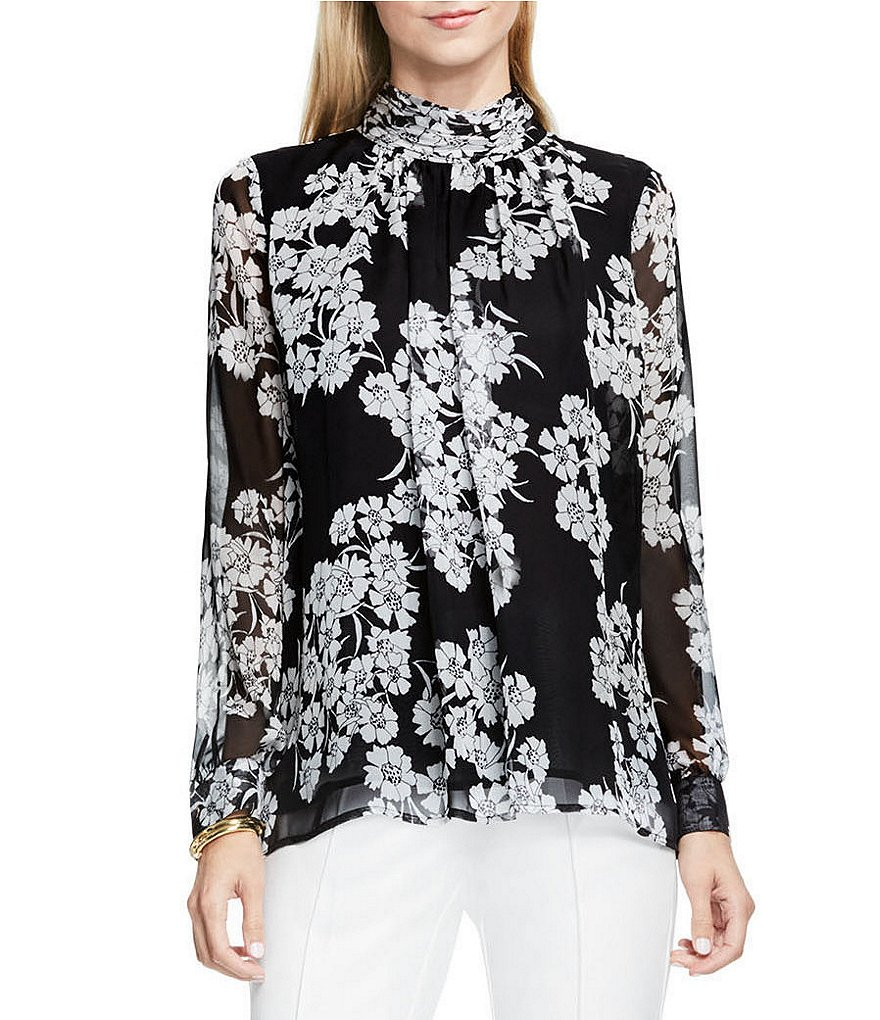 Vince Camuto Petal Cascade Ruched Mock Neck Blouse