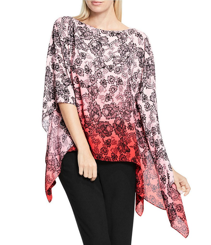 Vince Camuto Festive Georgette Lace Ombre Poncho
