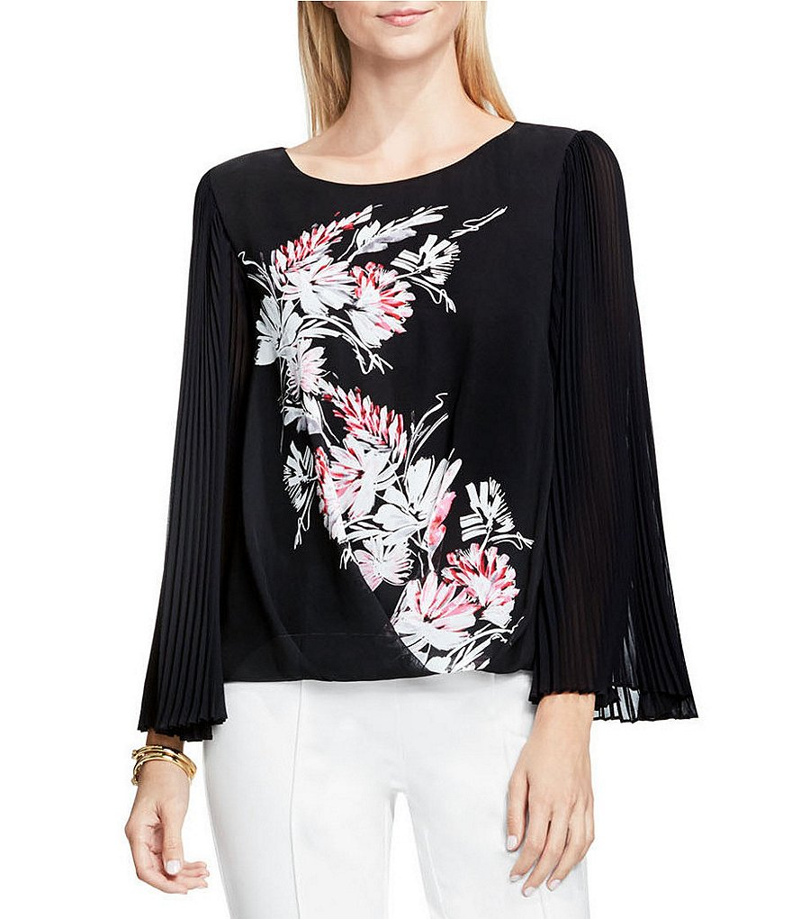 Vince Camuto Winter Gerland Chiffon Pleat Sleeve Blouse