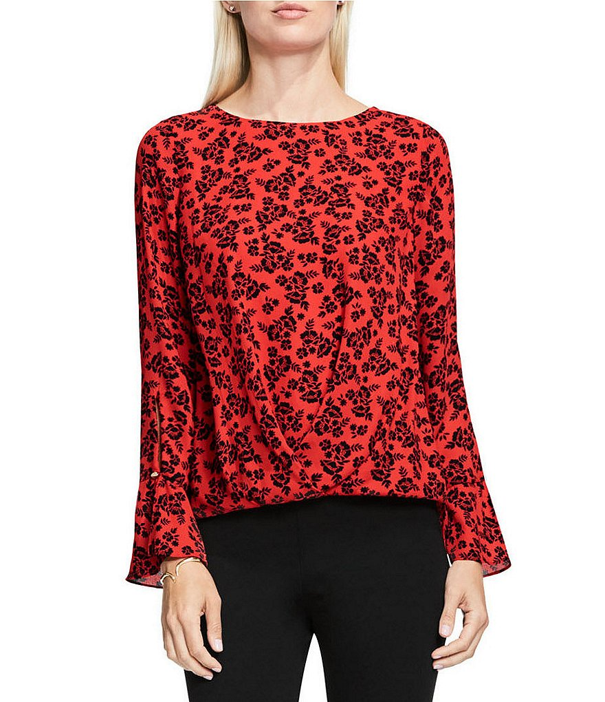 Vince Camuto Bouquet Stamp Fold-Over Blouse