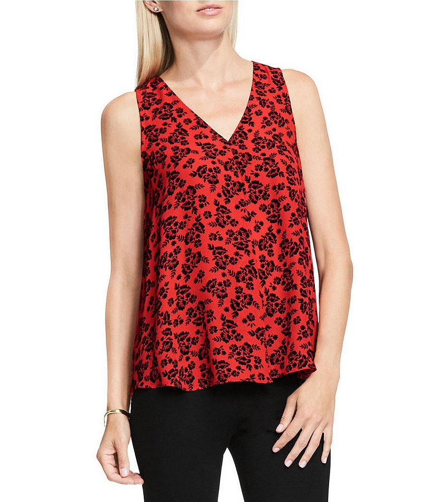 Vince Camuto Bouquet Stamp Sleeveless Drape Front Blouse