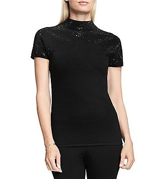 Vince Camuto Heat Set Embellished Short Sleeve Mock Neck Sweater