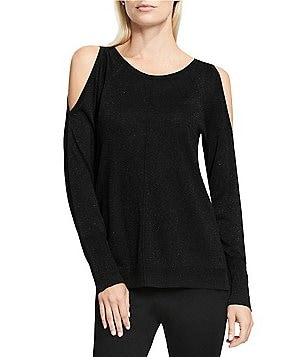 Vince Camuto Lurex Cold-Shoulder Sweater