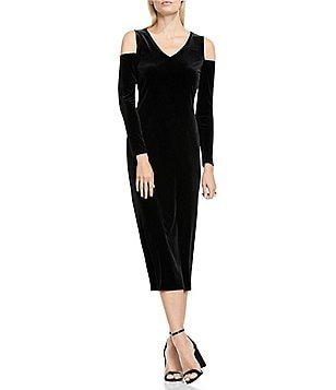 Vince Camuto Velvet Cold Shoulder Sheath Midi Dress