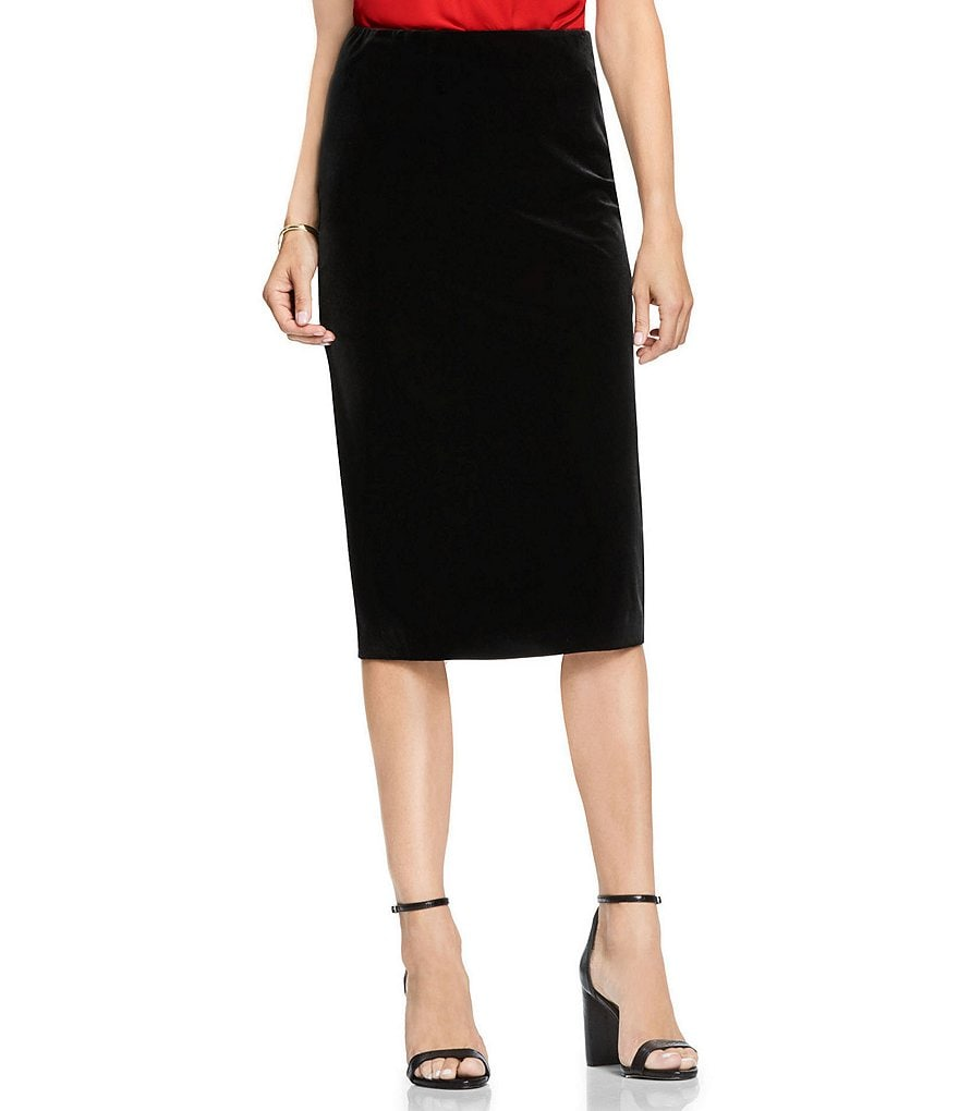 Vince Camuto Velvet Midi Tube Pencil Skirt