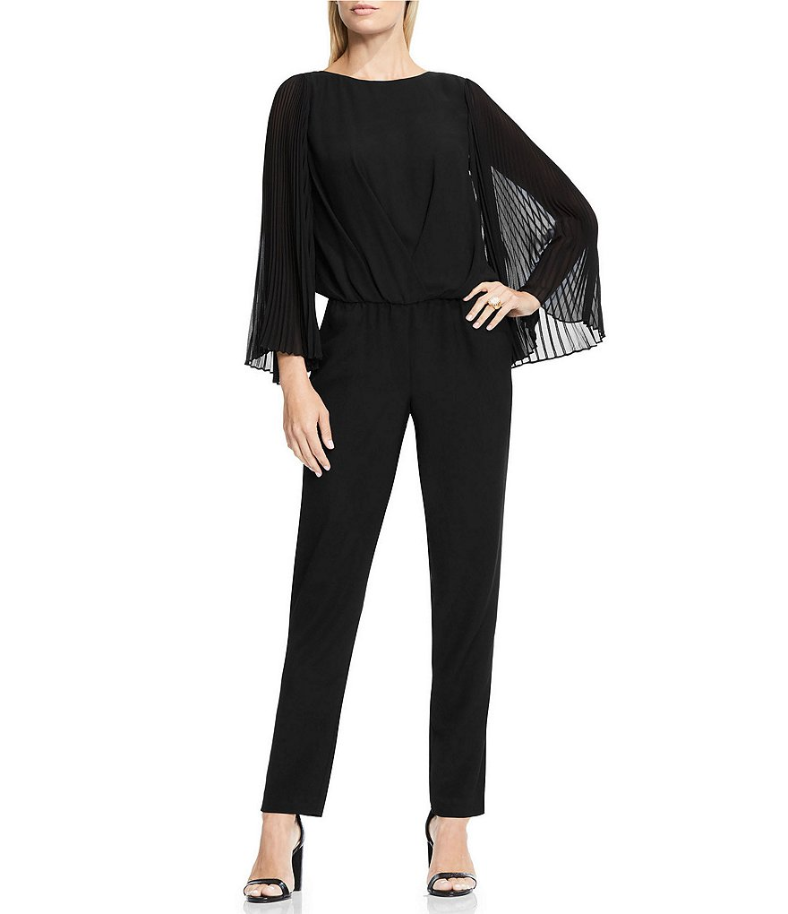 Vince Camuto Pleated Long Bell Sleeve Jumpsuit