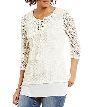 Reba Split V-Neck 3/4 Sleeve Side Slit Lace-Up Knit Tunic